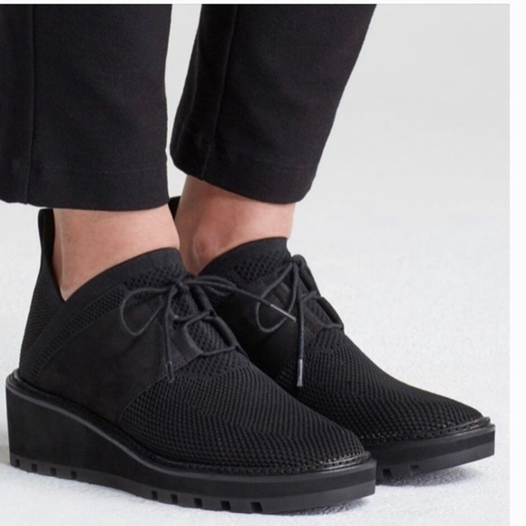 EILEEN FISHER WILSON Knit Lace-Up Wedge Loafer